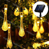 잔디 램프 태양 정원 조명 LED 스트링 전구 버블 워터 드롭 20 50 100Lleds 따뜻한 흰색 방수 크리스마스 결혼식 파티 DHL에 대 한 방수
