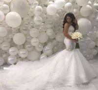 Arabe Moyen-Orient Mermaid Robes De Mariée 2019 Sweeetheart Perles Perles Dentelle Train Ivoire Vintage Robes de mariée HS3