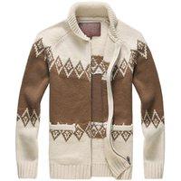 Мужская шерстяное пальто Мужчины Cardigans Алмазная Аргайл Winter сгущает Heavy Вязать кардиган свитер куртка Мужчины 80% шерсть 20% акрил