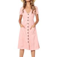 Kadın Moda Rahat Plaj Kısa Kollu Yaz Elbise Tunik V Boyun Düğmesi Midi Elbise Cep Vintage Katı Ile