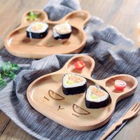 Herramientas de cocina de dibujos animados forma de conejo 4 Estilos Cena bandeja ecológico de frutas Snack-Niños Baby Bol conejo Mood Food placa de madera DH0395 T03