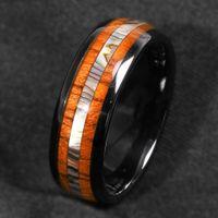 남성 8mm 블랙 텅스텐 카바이드 스틸 반지 하와이안 코아 나무 전복 쉘 상감 남성 웨딩 밴드 약속 보석 선물 크기 6-13