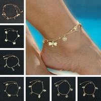 Femmes cheville pied de plage chaîne bijoux de corps papillon libellule cheville fille sandales aux pieds nus cheville bracelet de luxe designer pieds bracelets