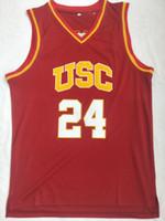 Hombres Colegio 24 Brian Scalabrine Hombres de la Universidad de California del Sur de New Jersey USC jerseys del baloncesto deportes Jersey Rojo