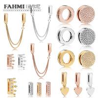 Fahmi 925 Sterlingsilber-SHINE Charming REFLEXIONS DAZZLING ELEGANCE CLIP Rose Crown Clip Schwimmdock Heart-shaped Clip Charm Sicherheit Chai