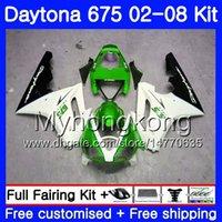 Корпус Зеленый белый HOT For Triumph Daytona 675 02 03 04 05 06 07 08 Daytona675 322HM.17 Daytona 675 2002 2003 2004 2005 2006 2007 2008 Обтекатель