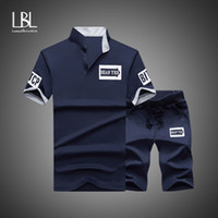 Men Tracksuit 2018 Summer Short Sleeve Tee shirt+ Shorts Set ...