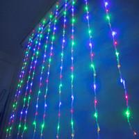 3m * 3m 크리스마스 웨딩 파티 배경 휴일 실행 물 폭포 물 흐름 커튼 LED 가벼운 문자열 336 전구 방수
