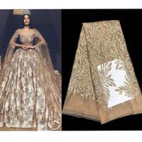 2019 горячая мода элегантные французские вышитые блестки кружева сетчатые кружевные ткани высочайшего качества шитья для свадебного платья 5yards
