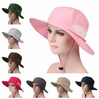 Al aire libre del casquillo del visera de Sun ancho del viaje del verano del borde unisex sombreros velocidad seco UV protector solar sombrero causal camping Sombrero de sol TTA846
