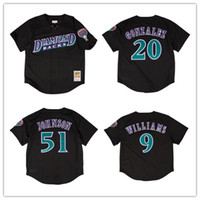 Hombres Arizona 9 Matt Williams 51 Randy Johnson 20 Luis Gonzalez 1999 Malla auténtica Jersey de BP Diamondbacks Camisetas de béisbol