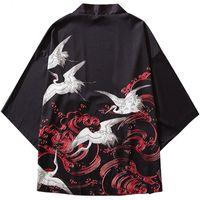 Январьсновские японские кимоно Куртки Кран Lucky Red Cloud Print 2019 Mens Harajuku Streetwear Куртка Пальто хип-хоп тонкий платья Япония стиль новый