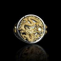 Oro de los hombres Dos tonos 14k Chapado en oro negro Diamante Patrón de anillos Anillos Personalidad Joyas de anillos Punk