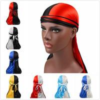 Moda Unisex Double Color Cap Satin Durags Bandanna Elastico Turbante Seta Durag Durag Cappelli Pirate Caps Accessori per capelli