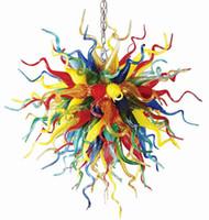 Lámparas LED Lámparas Lámparas Multi Color Luz Moderna Moderna Luz Colgante Para Decoración Hogar Mano Florada Cadena de vidrio Araña Iluminación