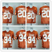 NCAA Высокое Качество Мужские Джемки 34 Коннор Уильямс 20 Эрл Кэмпбелл Колледж Texas Longhorns Футбол Спортивная Мужская Рубашка