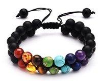 Multicolorido chakra yoga chakra pulseira naturais turquesa pedra vulcânica fosco ágata duplo tecido pulseira GD40
