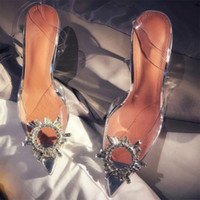 Hot Sale-Frauen-transparente Sandalen mit spitzen Zehen xia Wort mit Wasser Diamanten sexy baotou Fersen