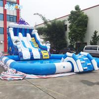 Garten-PVC-Outdoor-Nutzung heißer Verkauf riesiger kommerzieller aufblasbarer Wasserpark-Wasserpool-Slide mit Gebläsen