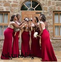 Onur Elbise Of God payetli En Denizkızı Gelinlik Modelleri Afrika Kırmızı Uzun Hizmetçi Uzun Tren Wedding Guest Elbise Custom Made Sweep
