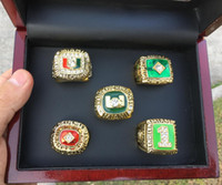 5 Stück 1983 1987 1989 1991 1991 Miami Hurricanes National Championship Ring Set mit Holz Display Box Fan Geschenk 2019 Drop Shipping