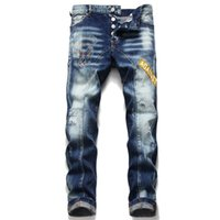 Único Mens Rhinestone rasgado Slim Fit Jeans Fashion Designer magro Lavados Motocycle Denim Pants painéis Hip Hop motociclista Calças 1061