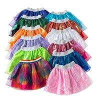 Filles Tutu Mini robes enfants Vêtements de créateurs solide costume de danse bébé arc-en-Tutu Jupes robe de princesse fête de Noël Stagewear C293