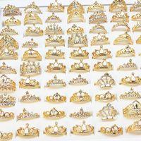 Venta al por mayor 25 unids / lote oro plateado plateado femenino Rhinestone Rhinestone Anillos de joyería de la moda de los estilos de la mezcla Nuevo anillo de bodas