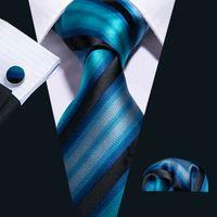 Fast Shipping Silk Tie Set Blue Black Striped Men's Wholesale Classic Jacquard Woven Necktie Pocket Square Cufflinks Wedding Business N-5004