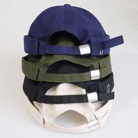 Chapeau sans enfanité pour hommes Femmes Coton Cotton Cotton Skullcap Noir Black Bouton Cap Docker Sailor Montre Beanie