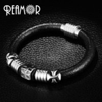Reamor Punk Style Black Leather Rope Bracelet Men 316l Stain...
