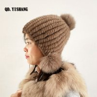 Hat Cap With Fox Fur Pompoms Hat For Women New  Thicken Female Cap Winter Knitted  Beanies QD.YISHANG