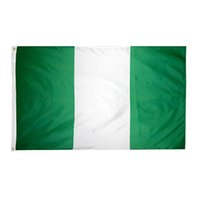 Envío libre al por mayor precio de fábrica 100% poliéster 90 * 150 cm verde blanco NGA NG Nigeria bandera para la decoración