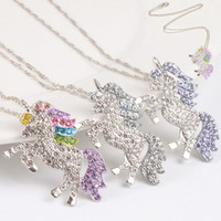 kids and women necklace colorful unicorn diamond pendant nec...