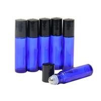 에센셜 오일 용 10ml 롤러 병-코발트 블루,스테인레스 스틸 롤러 볼이있는 유리 및 검은 색 캡 유리 롤 병 0.33 온스