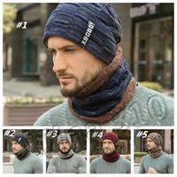 Örgü Şapka Eşarp Seti Erkekler Katı Renk Cap Eşarplar Erkek Kış Açık baba Şapkalar Eşarp tasarımcı şapkalar kapakları erkekleri Isınma sıcak 1set T2C5086