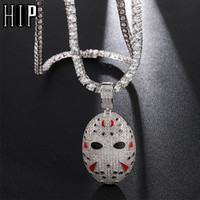 Hip Hop Bling hacia fuera helada circonio cúbico máscara de Jason colgantes de los collares para los hombres de la joyería con cadena de Tenis