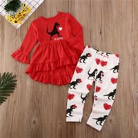 2020 bebé Gilrs ropa conjunto primavera chándal Navidad niños amor corazón dinosaurio impreso manga larga camiseta + pantalones traje de dos piezas A122002