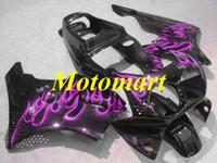オートバイフェアリングキットのためのホンダCBR900RR 893 92 93 94 95 CBR 900RR 1992 1995 ABS紫色の炎ブラックフェアリングセット+ギフトHA03