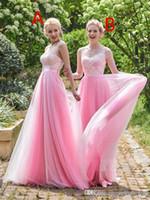 Barato una línea tullle cariño rubor rosto largo dama de honor vestidos diferentes estilos de mismo color vestido de invitado de boda más tamaño 2019 vestido de fiesta
