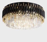 Роскошные черные канделябры Подвесные светильники Свет для потолка Luxury Living Room Кристаллический светильник Круглый Современные светодиодные люстры De Cristal LLFA