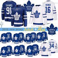 Toronto Maple Leafs Formalar 91 John Tavares 16 Mitch Marner Auston Matthews Nazem Kadri Nazem Kadri Frederik Andersen Hokeyi Jersey