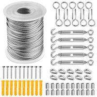 Corde Fil Câble crochets Cordon en acier inoxydable Hanging Kit Tendeur de fil Tendeur pour l'installation à l'ombre, Tente Soleil, Anti-rouille