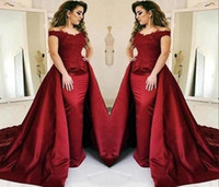2020 Dark Red Mermaid Evening Gowns With Long Train Lace App...