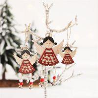 Nordic Деревянные куклы Ангел Висячие украшения Рождественские украшения Ветер куранты Подвеска Xmas Декор Дерево Windbell Navidad Craft Gift JK1910