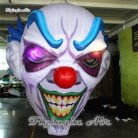 Halloween Decorative Inflatable Devil Head Replica 2m/3m Hanging Lighting Air Blown Demon Ghoul Clown Skull For Concert And Nightclub Decoration