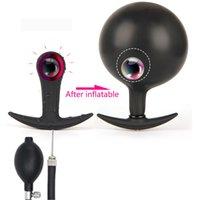 Neue aufblasbare Huge Anal Butt Plug mit Metallkugel Big Analdehner Silikon-Anus Pump Erweiterbare ProstataMassager anal Sex-Spielzeug Y191228