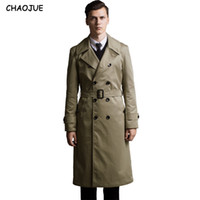 Trench CHAOJUE Extra Long Coat Mens 2018 Slim England Trench Uomo Big Size 6XL Pea Coat Gentleman Top Giacche Come regalo