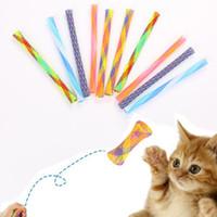 튜브 롤 다채로운 스트레치 디자인 애완 동물 소설 장난감 메쉬 애완 동물 망원경 재미 고양이 스틱 장난감 고품질의 나일론