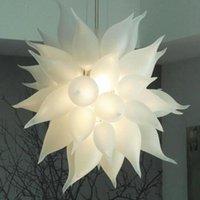 Лампы люстры Освещение белые взорванные стекла люстра освещения 24-дюймовый висит цепи кулон света современного дома украшения гостиной лампы